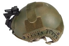 Kevlar helmet with night vision mount. Isolated on white Stock Photo