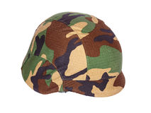Kevlar helmet woodland camouflage isolated Royalty Free Stock Photos