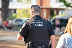 Kevlar on the police oficer stock photo