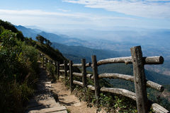 Kew Mae Pan, Doi Inthanon, Chiangmai Thailand. Pathway on the height-est mountain in Thailand Stock Images