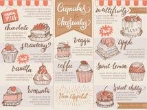 Kex och ostkaka för muffin för choklad för mall för mat för design för kafé för menyefterrättvektor sött i restaurangillustration stock illustrationer