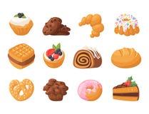 Kexet för bakelse för kakan för smaklig choklad för mellanmålet för kakavektorkakor läcker bakar ihop det hemlagade söt efterrätt stock illustrationer