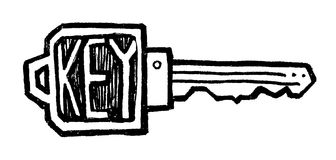Key. Vector illustration of a black and white door key Stock Images