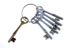 Key. A bunch of old keys on a white background Royalty Free Stock Photo