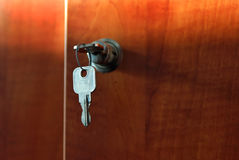 Key. In the lock of a door of a case Stock Image