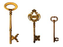 Key. Vintage gold key on white background isolated Stock Photo