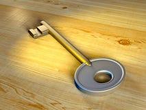 Key. Metal key under a warm light. Digital illustration stock photos