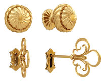 Key. Golden door handle and the golden key. isolated on white. with clipping path Stock Photography