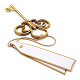 Key. Antique golden key with blank card. isolated on white. with clipping path Royalty Free Stock Image