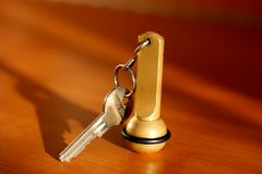 Key. Of a hotel room on a table Royalty Free Stock Photography