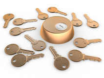 Key. S and hole. Confusion, choice, risk. 3d render Royalty Free Stock Photos