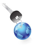 Key. Global Key with a chain (on white Stock Photos