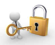 Key. 3d people - man, person open a lock with a key Stock Photography