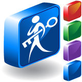 Key 3D Icon. Man carrying a key - 3D button set Royalty Free Stock Images
