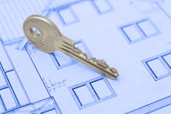 Key. For the home on plan Royalty Free Stock Photos