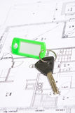 Key. S with home on blueprints Royalty Free Stock Image