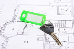 Key. S with home on blueprints Royalty Free Stock Images