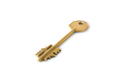 Key. The ancient key is photographed on a white background Royalty Free Stock Images