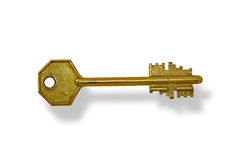 Key. The ancient key is photographed on a white background Royalty Free Stock Photo
