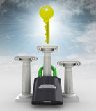 Key above padlock on ancient column in sky Royalty Free Stock Photo