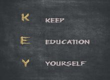 KEY acronym - KEEP EDUCATING YOURSELF. Educational concept with different color sticky notes and white chalk handwriting on a stock images