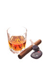 Key and alcohol. Drink, cigar and car keys on white Stock Image