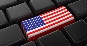 Key with American Flag Royalty Free Stock Photos