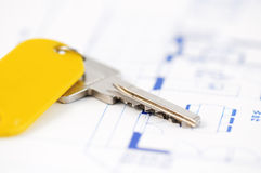 Key on an architecture-plan Stock Image