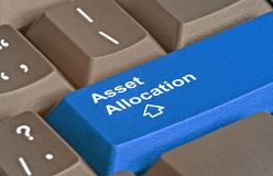 Key for asset allocation. Keyboard with key for asset allocation royalty free stock image