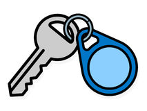 Key and badge with copy space Stock Photo