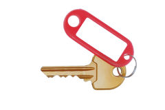 Key with banner on white background Stock Photo