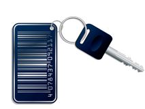 Key with bar-code access. Key with metallic bar-code access Stock Photo