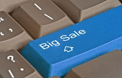 Key for big sale. Keyboard with key for big sale Royalty Free Stock Photography