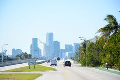 KEY BISCAYNE, FL, USA - APRIL 17, 2018: View to Miami Downtown f royalty free stock photo