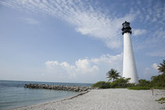 Key Biscayne Lighthouse. Over looks the ocean on a brilliant Florida morning royalty free stock images