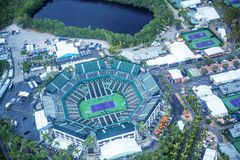 KEY BISCAYNE - MARCH 29, 2018 : Aerial view of the Crandon Park. Tennis Center in Key Biscayne, Miami. Home of the Sony Ericsson Open since 1987 it has a Royalty Free Stock Image