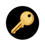 Key on black button flat design vector Stock Images