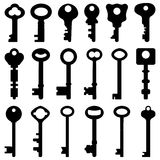Key Black Silhouette Retro Old Antique Vector. A set of antique key in Stock Photo