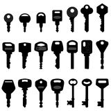 Key Black Silhouette Vector. A set of keys in silhouette Royalty Free Stock Images