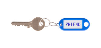 Key with blank label isolated Stock Photography