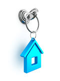 Key with blue house trinket in keyhole. Real estate concept 3d render illustration Stock Photos
