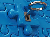 Key and blue puzzle pieces. 3d illustration of key and blue puzzle pieces Stock Photo