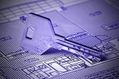 Key on Blueprint Stock Image