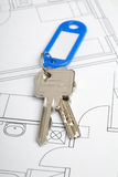 Key and blueprint Royalty Free Stock Image