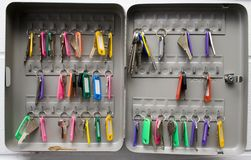 Key Box. Collection of keys in security case royalty free stock photography
