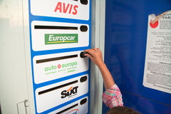 Key boxes of car rental firms in Palermo Stock Images