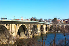 Key Bridge and Georgetown in winter. Royalty Free Stock Photo