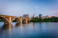 The Key Bridge over the Potomac River and Rosslyn skyline, seen Stock Images