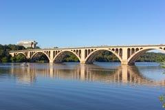 Key Bridge with reflection in Potomac River in Washington DC, USA. Royalty Free Stock Photo