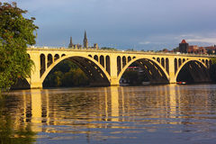 Key Bridge reflections in waters of Potomac River, Washington DC. Stock Images
